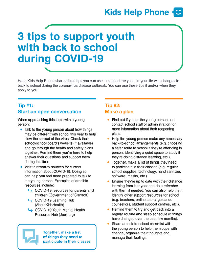 Tip sheet - tips to support youth with back to school